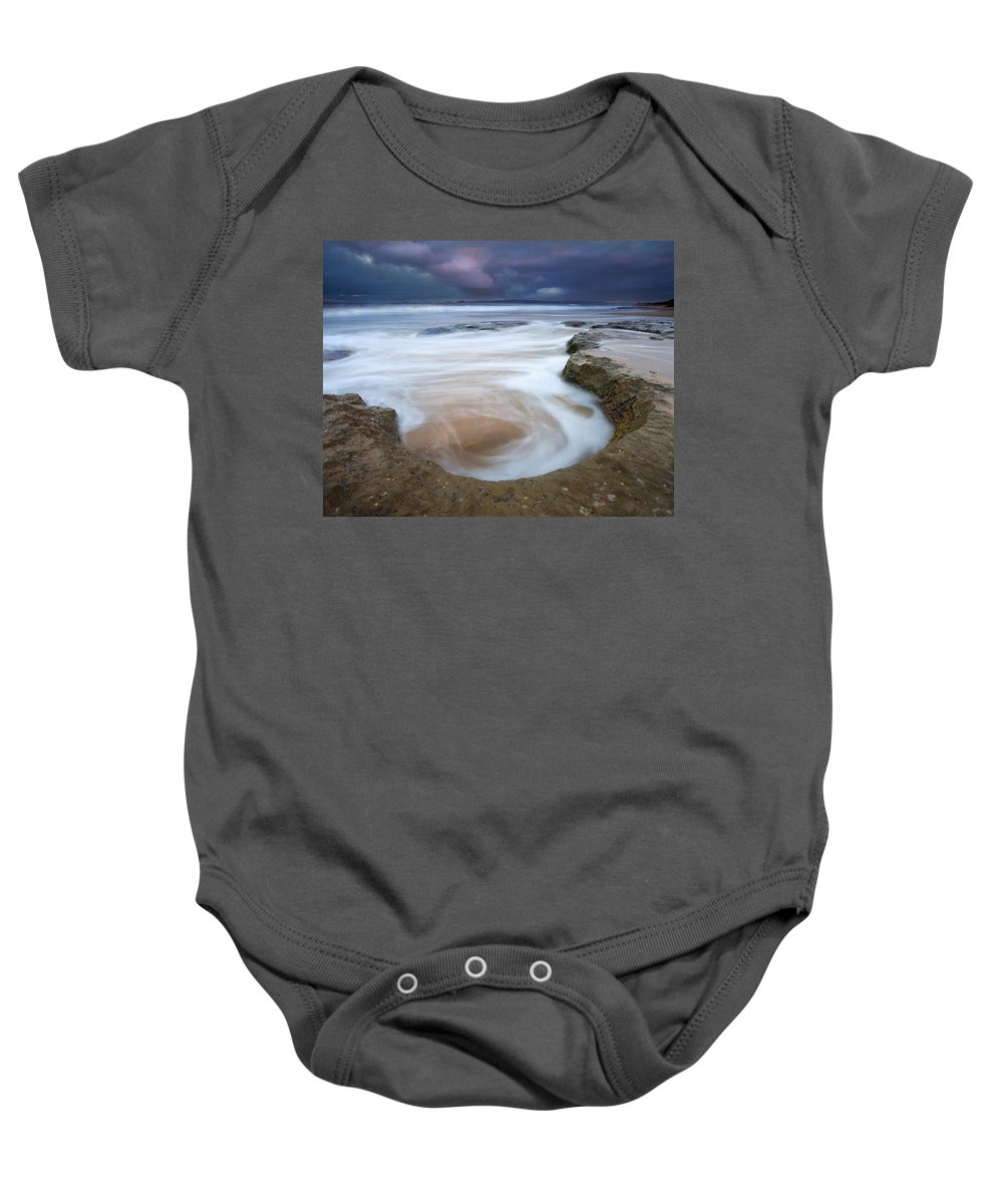 Sunrise Baby Onesie featuring the photograph Stormy Sunrise by Mike Dawson