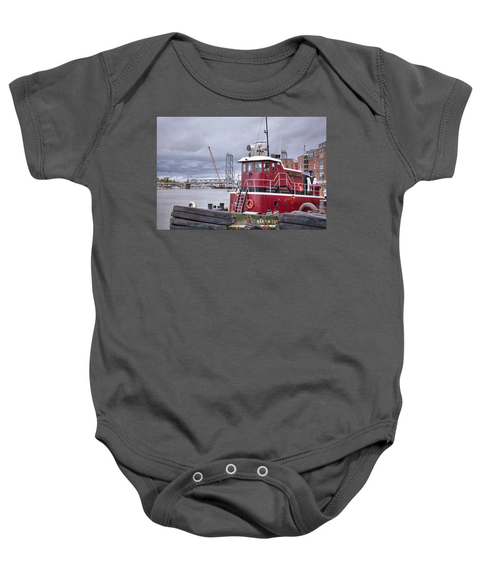 Stormy Tug Baby Onesie featuring the photograph Stormy Tug by Eric Gendron