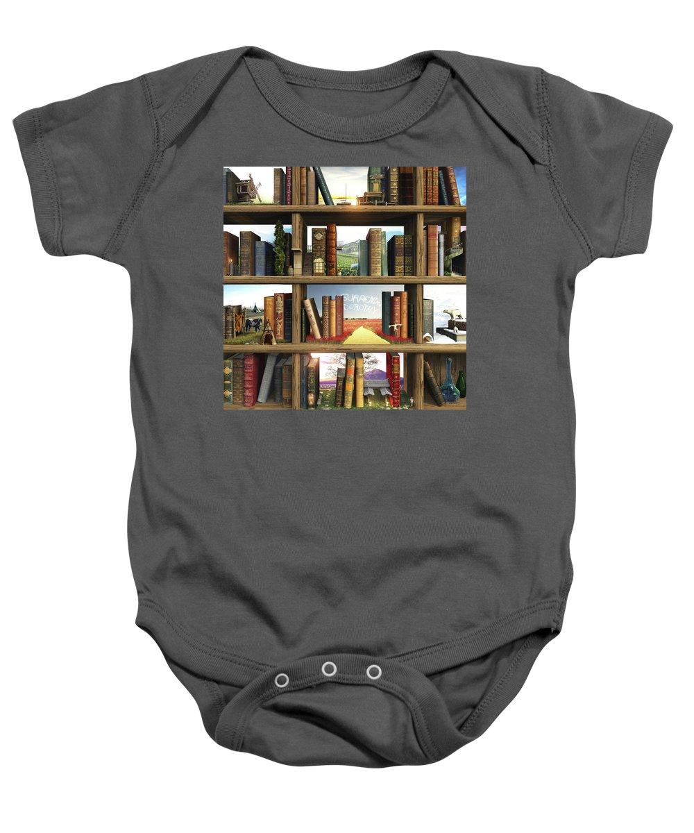 Books Baby Onesie featuring the digital art Storyworld by Cynthia Decker