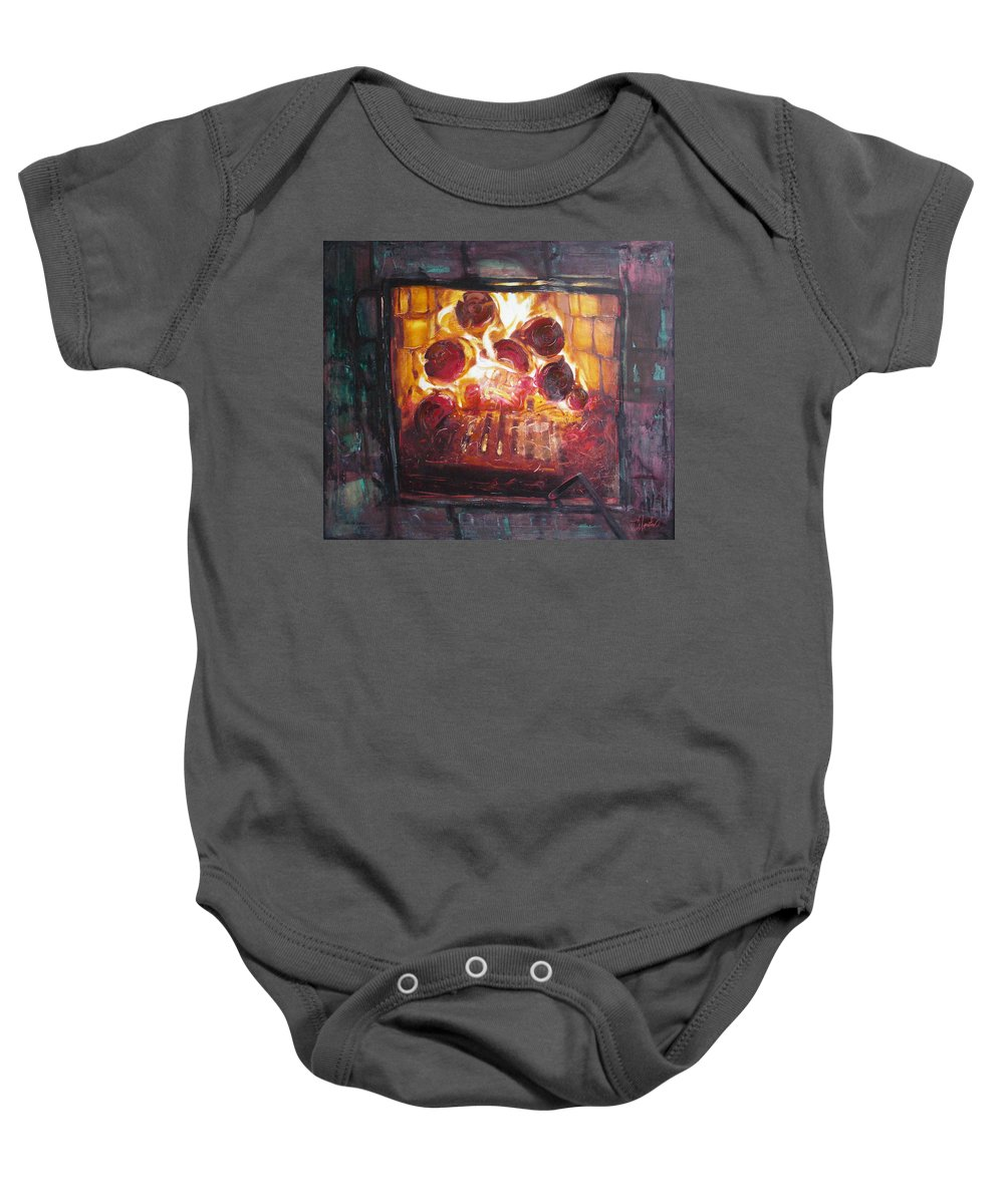 Oil Baby Onesie featuring the painting Stove by Sergey Ignatenko