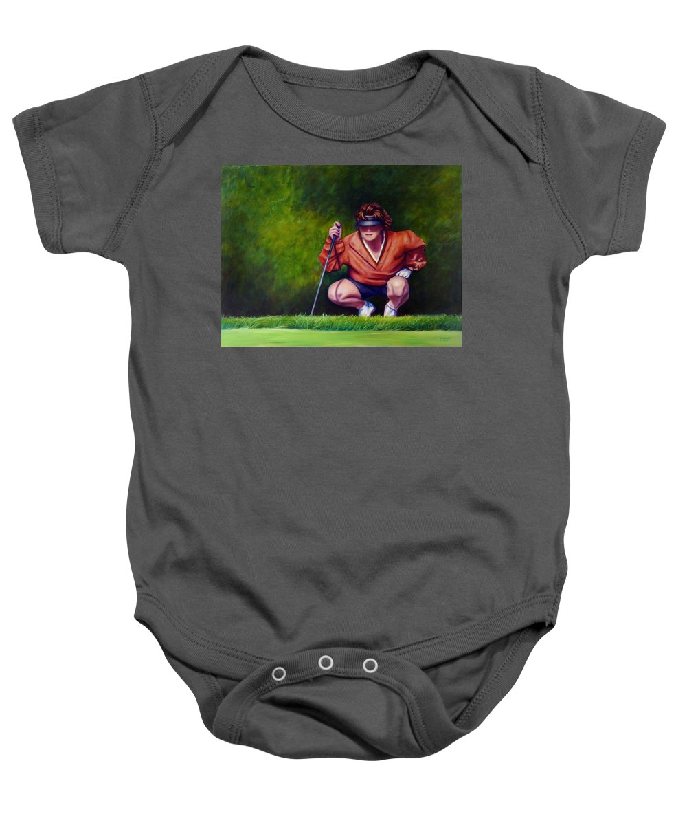 Golfer Baby Onesie featuring the painting Straightshot by Shannon Grissom
