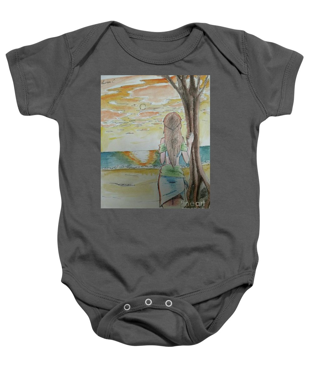 Island Baby Onesie featuring the painting Stranded by Lauren Champion