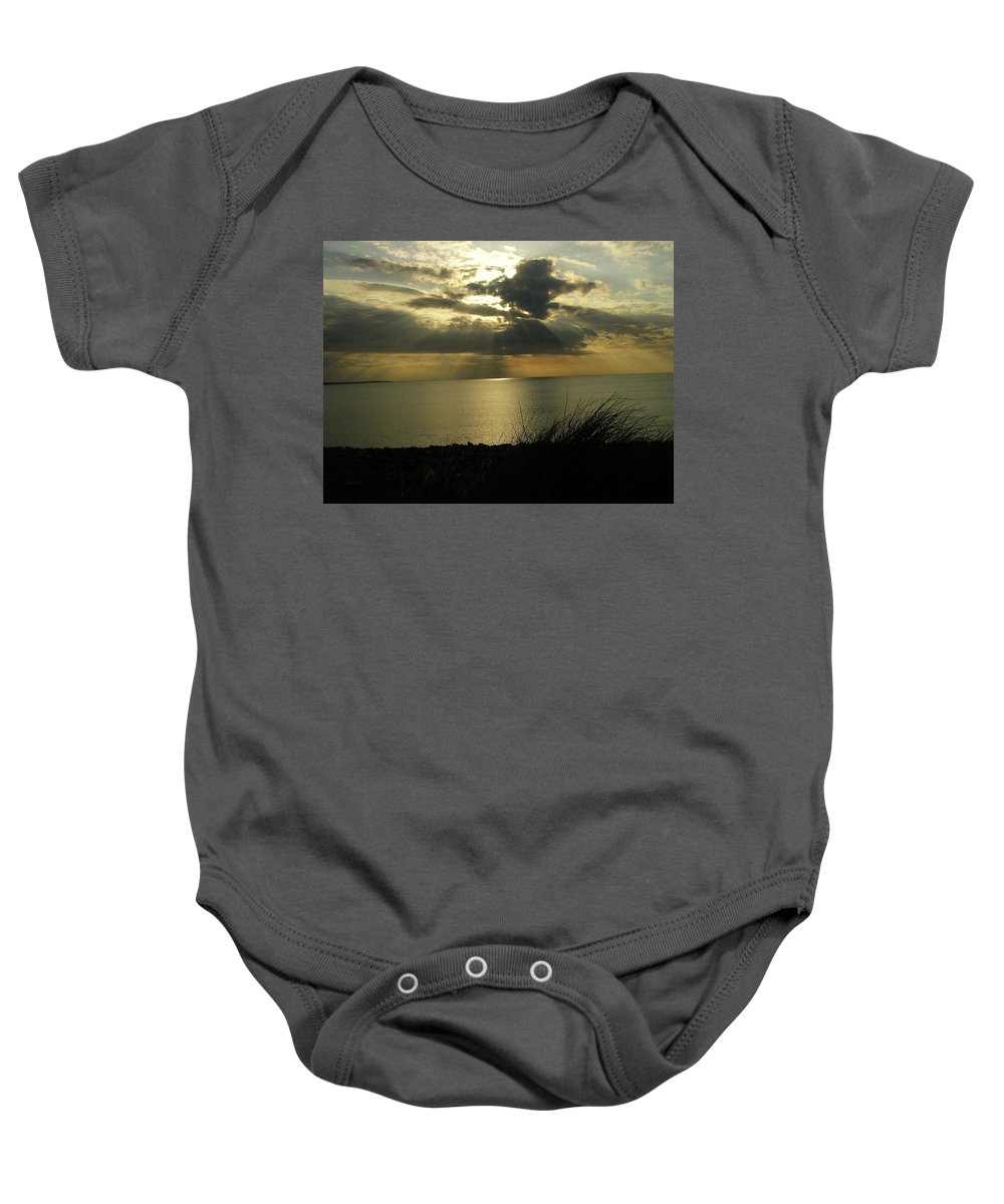 Seascape Baby Onesie featuring the photograph Strandhill Co Sligo Ireland by Louise Macarthur Art and Photography
