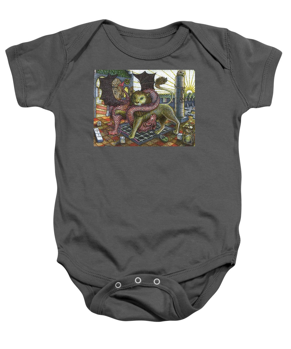 Lion Baby Onesie featuring the drawing Strange Reverie Detail by Bill Perkins