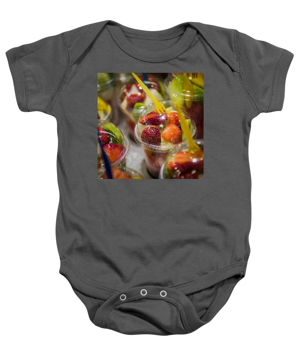 Strawberry Baby Onesie featuring the photograph Strawberry Desert - La Bouqueria - Barcelona Spain by Jon Berghoff
