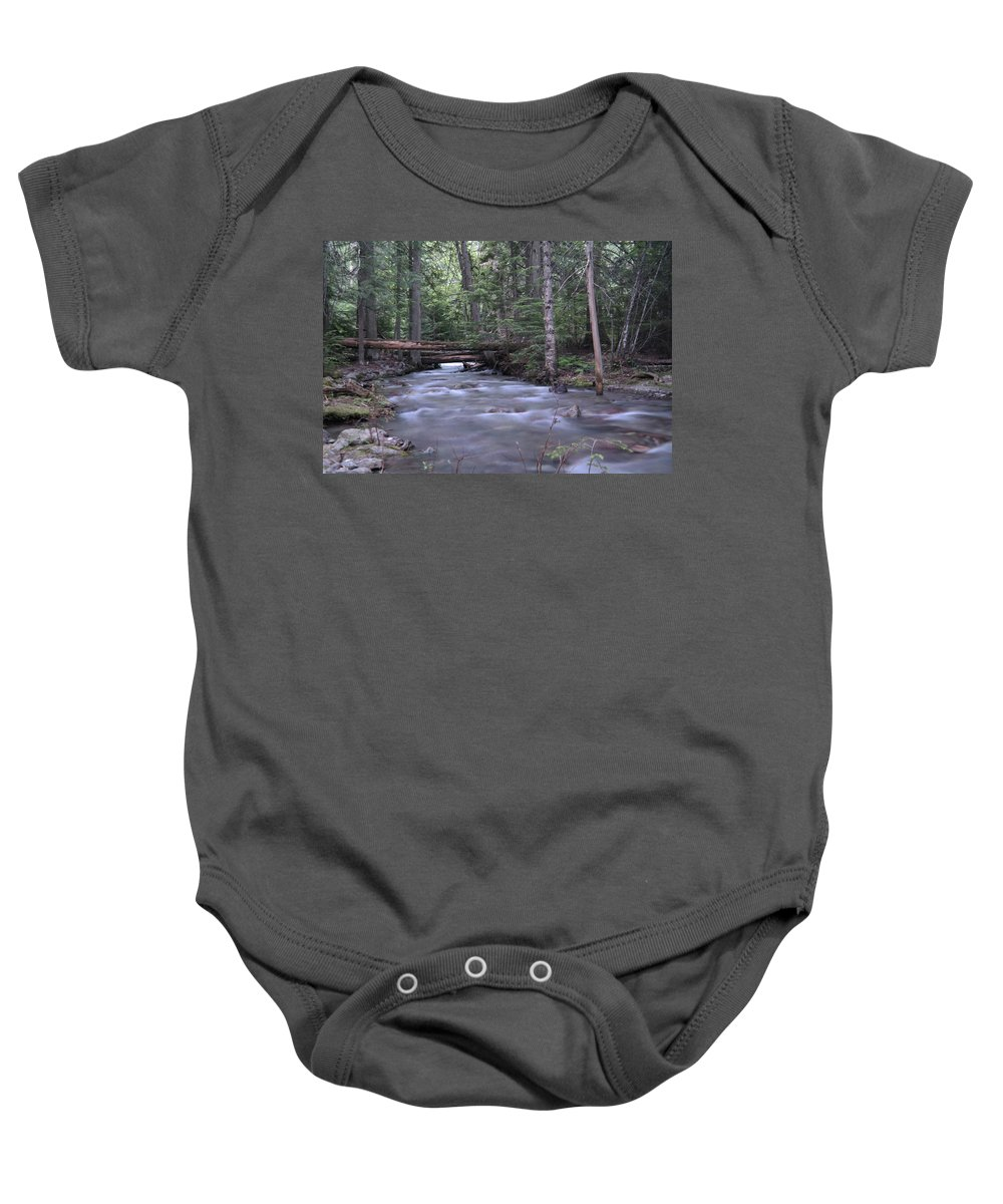 Rivers Baby Onesie featuring the photograph Stream In The Forest by Jeff Swan