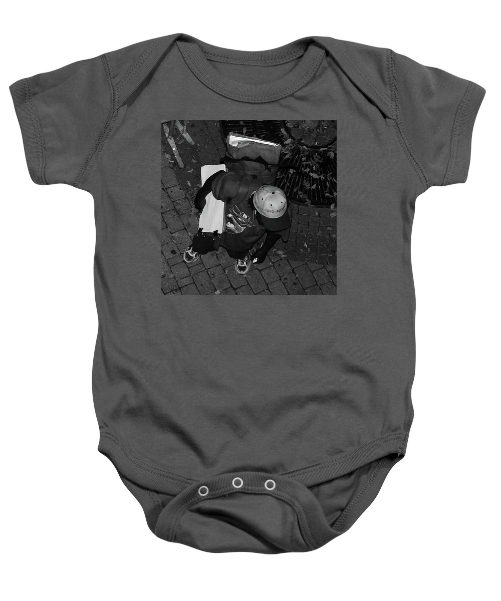Urban Baby Onesie featuring the photograph Street Artist by Angela Wright