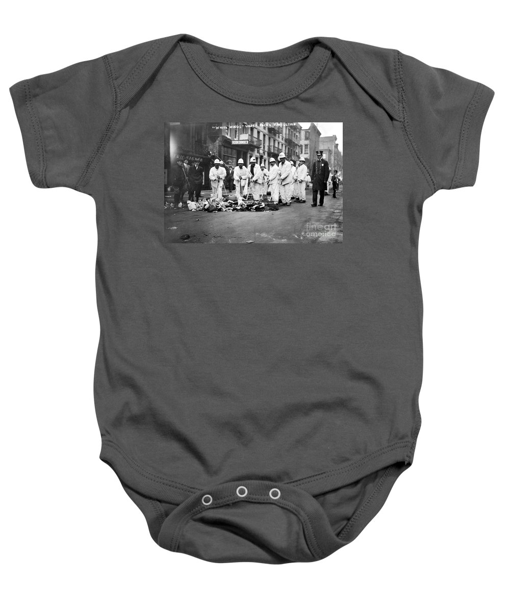 1911 Baby Onesie featuring the photograph Street Sweepers, 1911 by Granger