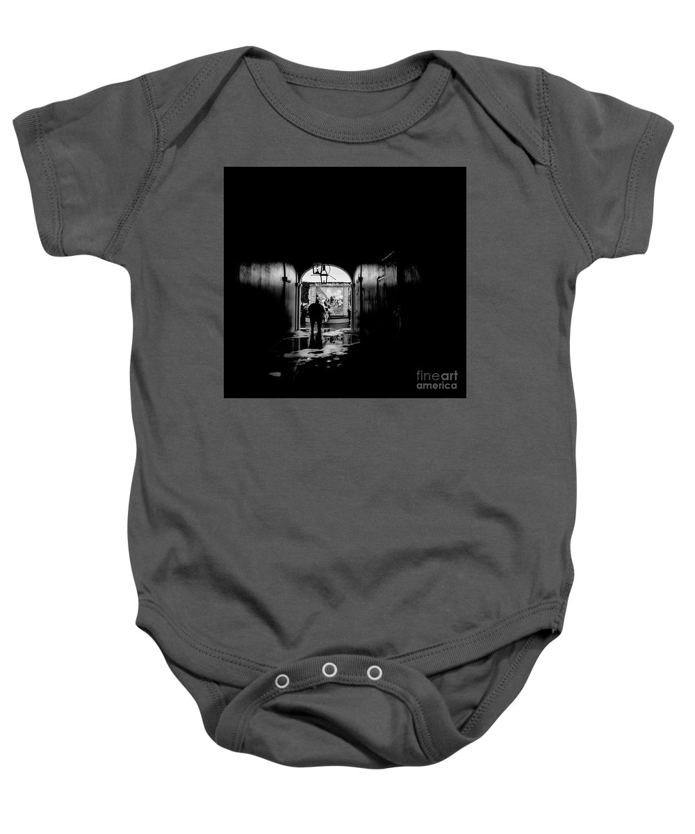 Street Photography Baby Onesie featuring the photograph Streets Of New Orleans Black by Chuck Kuhn