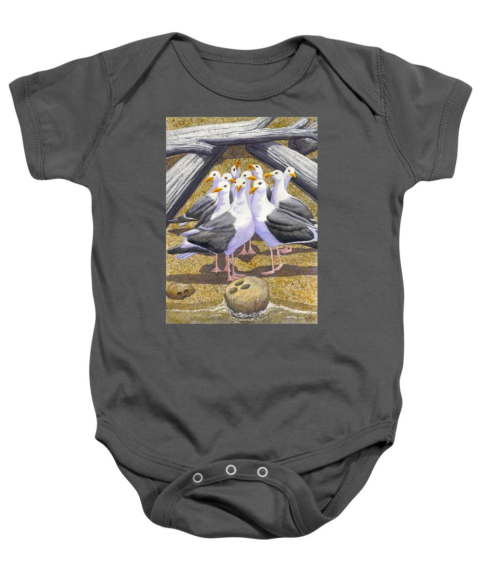 Beach Baby Onesie featuring the painting Strike by Catherine G McElroy
