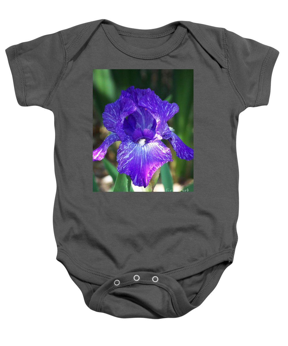 Flowers Baby Onesie featuring the photograph Striped Blue Iris by Kathy McClure