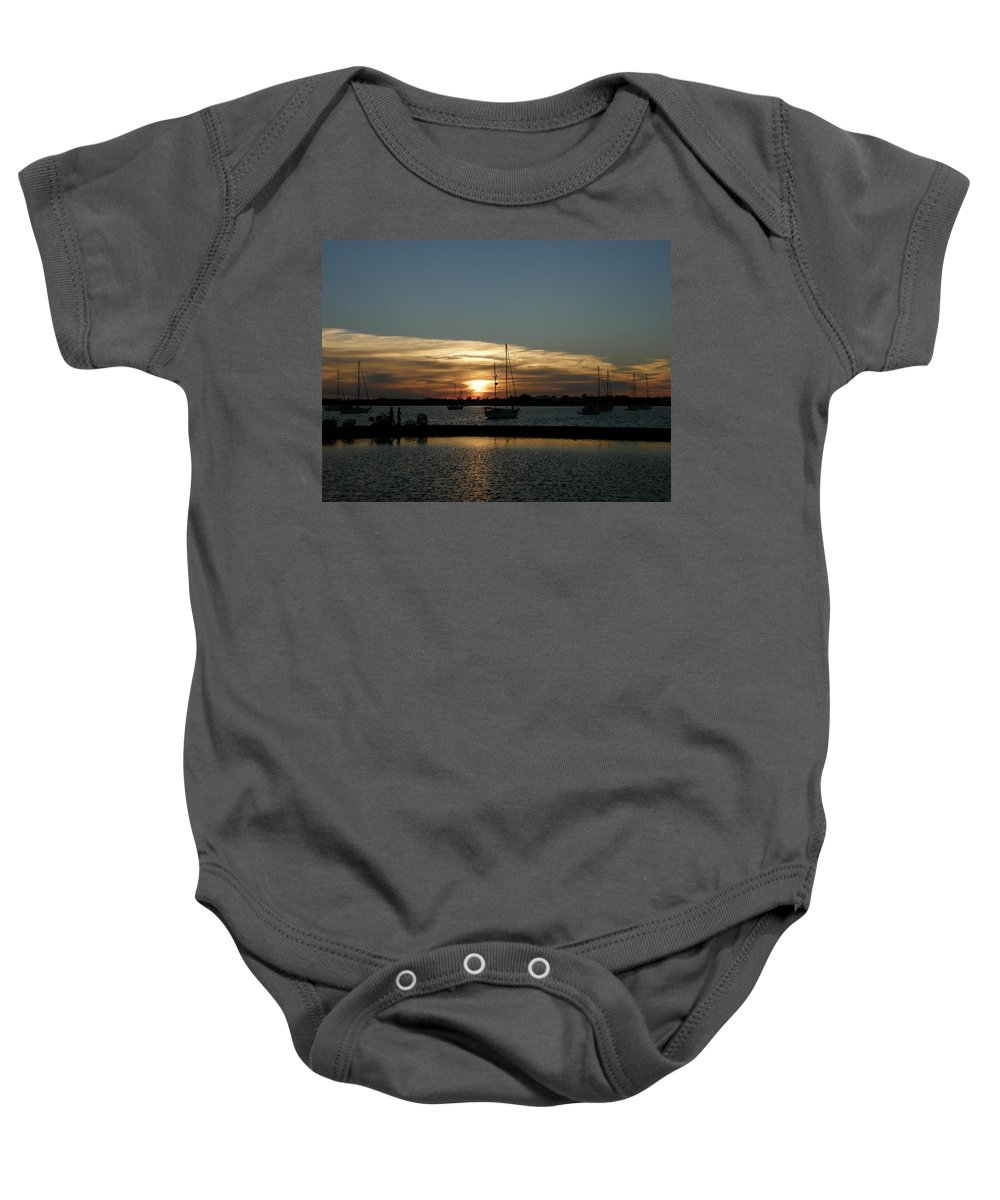 Sun Baby Onesie featuring the photograph Strolling In The Sunset by Kimberly Mohlenhoff