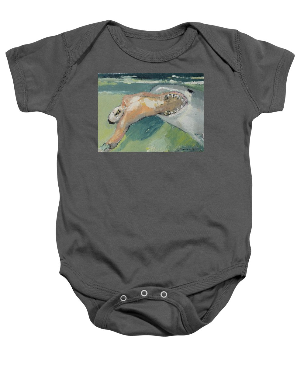 Shark Baby Onesie featuring the painting Stunt Double by Craig Newland
