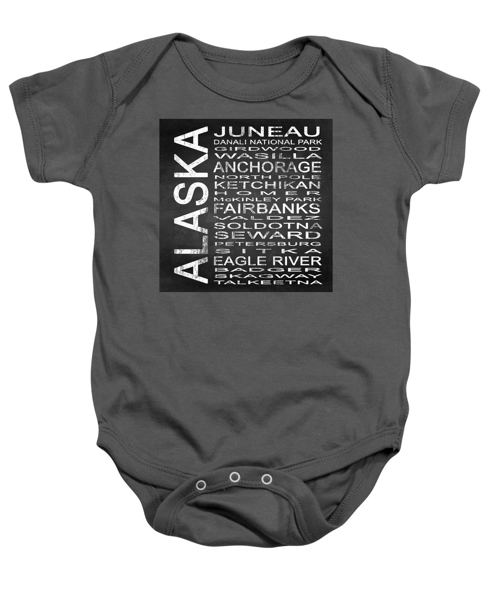 Subway Sign Baby Onesie featuring the digital art Subway Alaska State Square by Melissa Smith