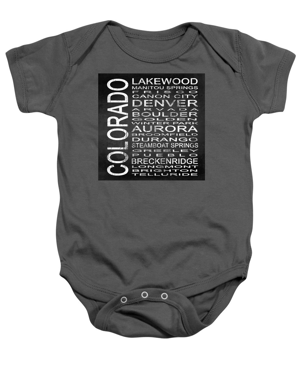 Subway Sign Baby Onesie featuring the digital art Subway Colorado State Square by Melissa Smith