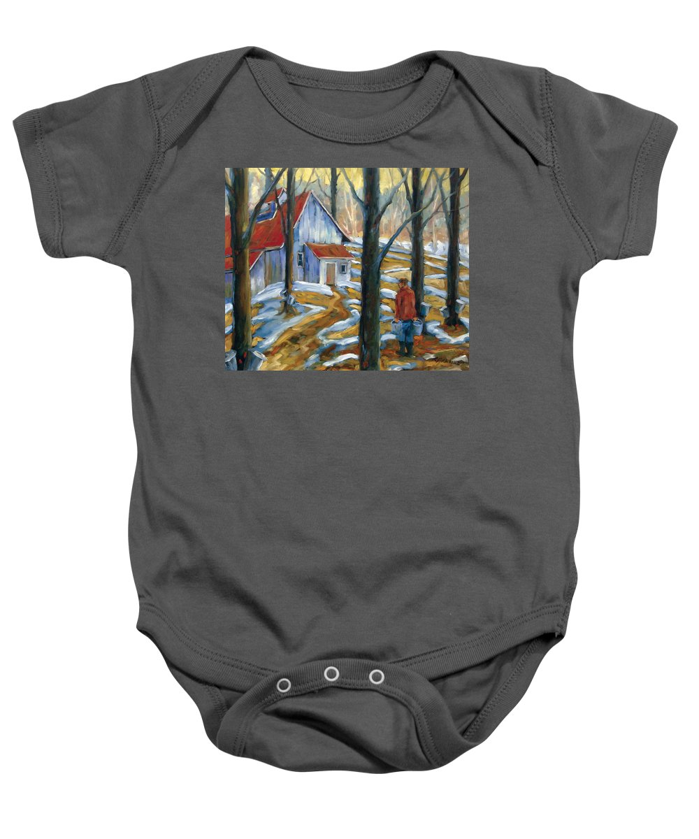 Suga Baby Onesie featuring the painting Sugar Bush by Richard T Pranke