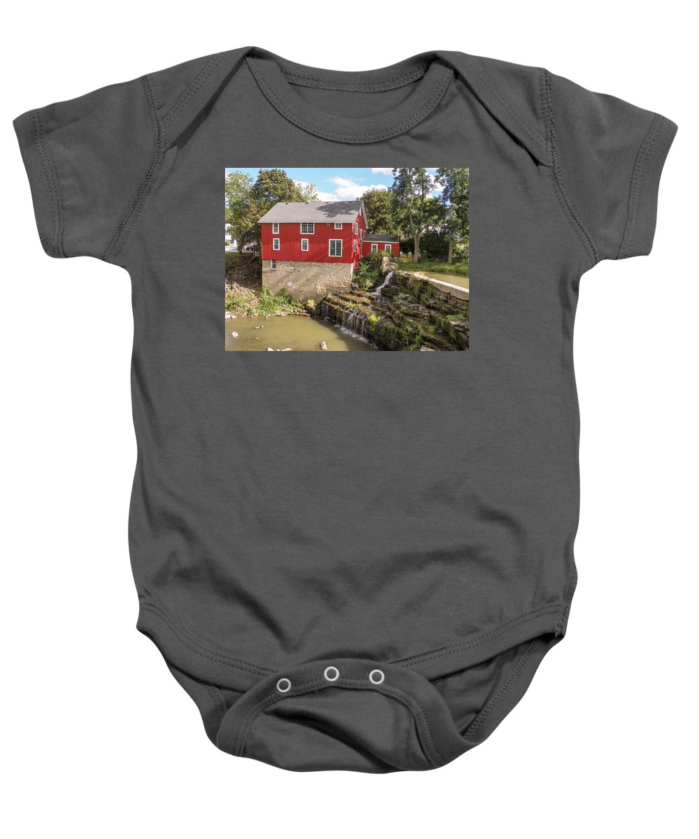 Mill Baby Onesie featuring the photograph Summer At Honeoye Falls by Lou Cardinale