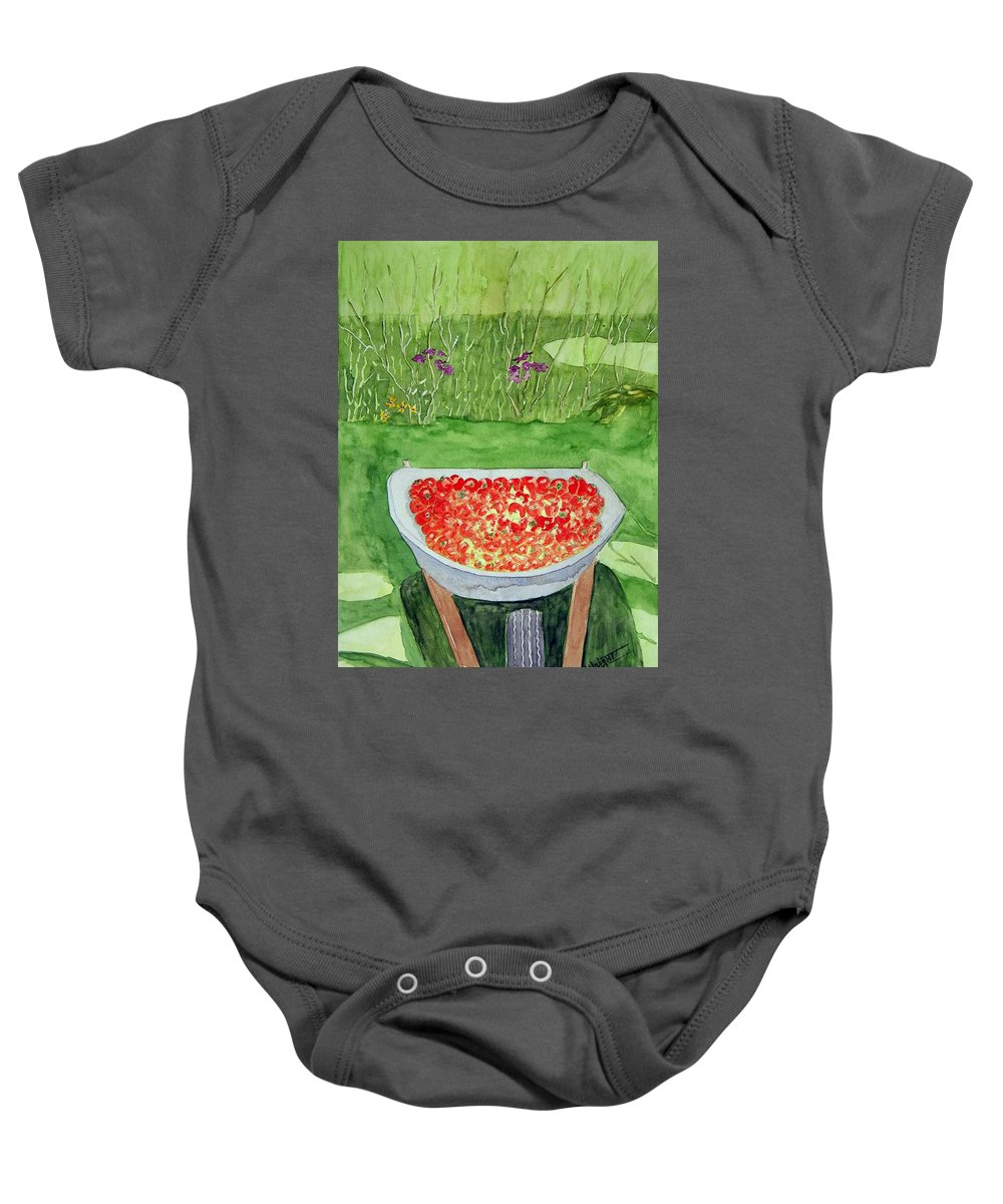 Rural Paintings Baby Onesie featuring the painting Summer Bounty by Larry Wright