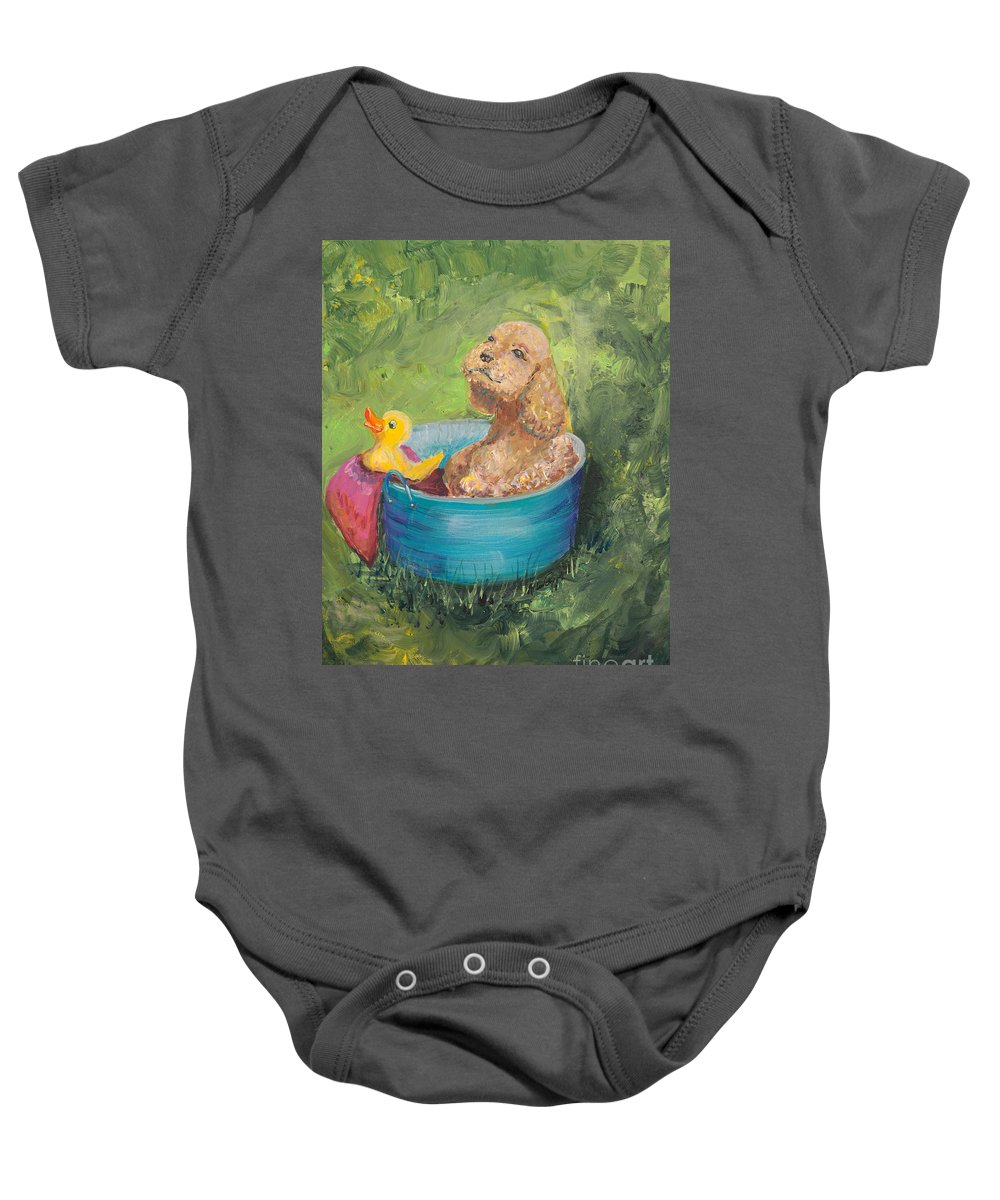 Dog Baby Onesie featuring the painting Summer Fun by Nadine Rippelmeyer