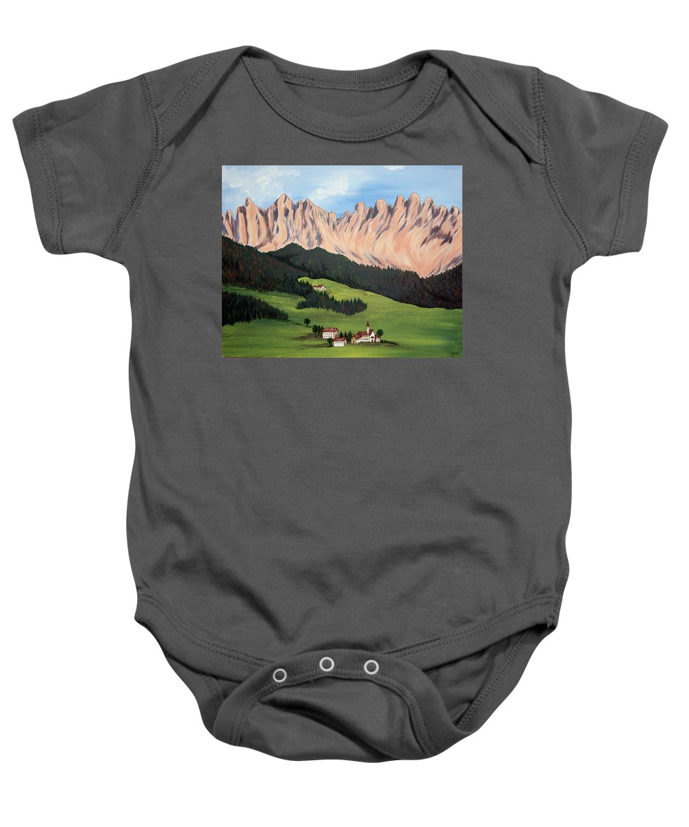 Landscape Baby Onesie featuring the painting Summer In Switzerland by Marco Morales