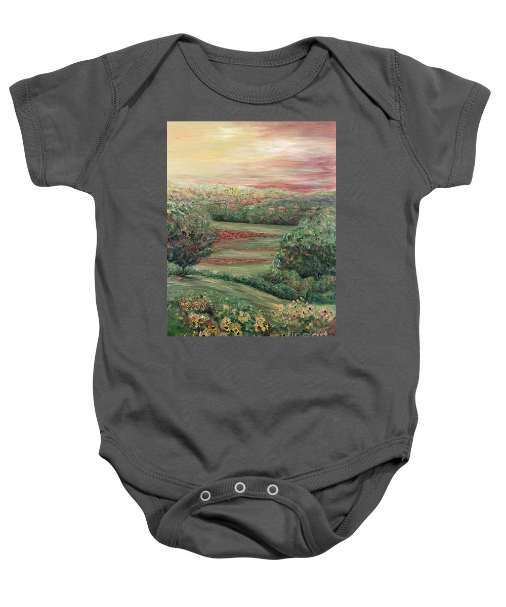 Landscape Baby Onesie featuring the painting Summer In Tuscany by Nadine Rippelmeyer