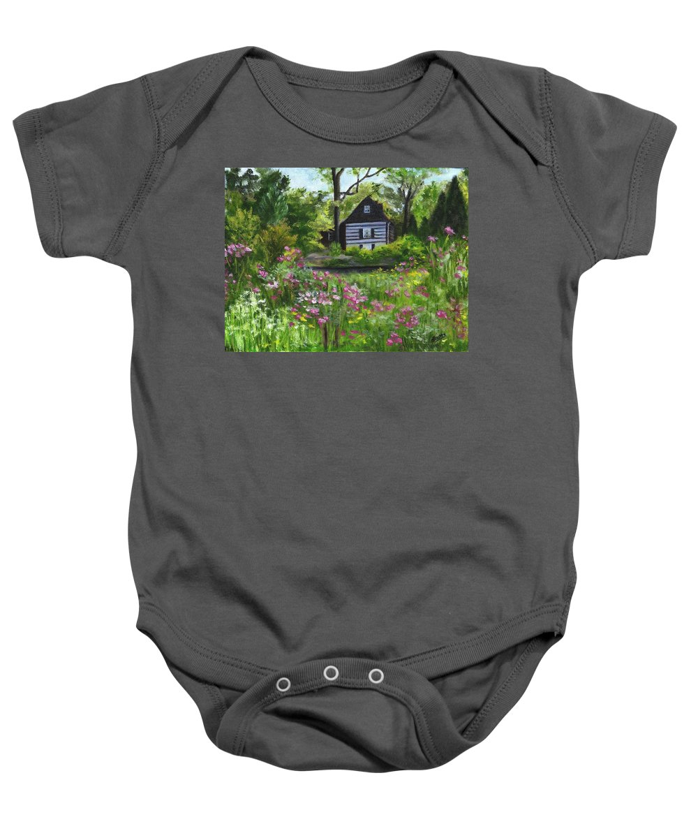 Log Home Baby Onesie featuring the painting Summer In Waterford by Deborah Butts