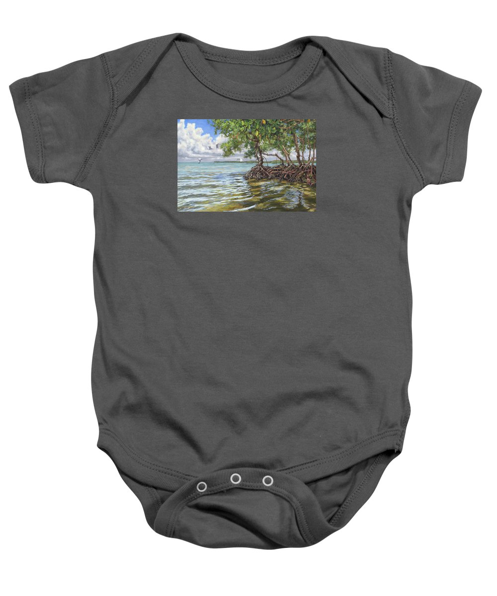 Mangroves Baby Onesie featuring the painting Summer Mangrove Melody by Carol McArdle