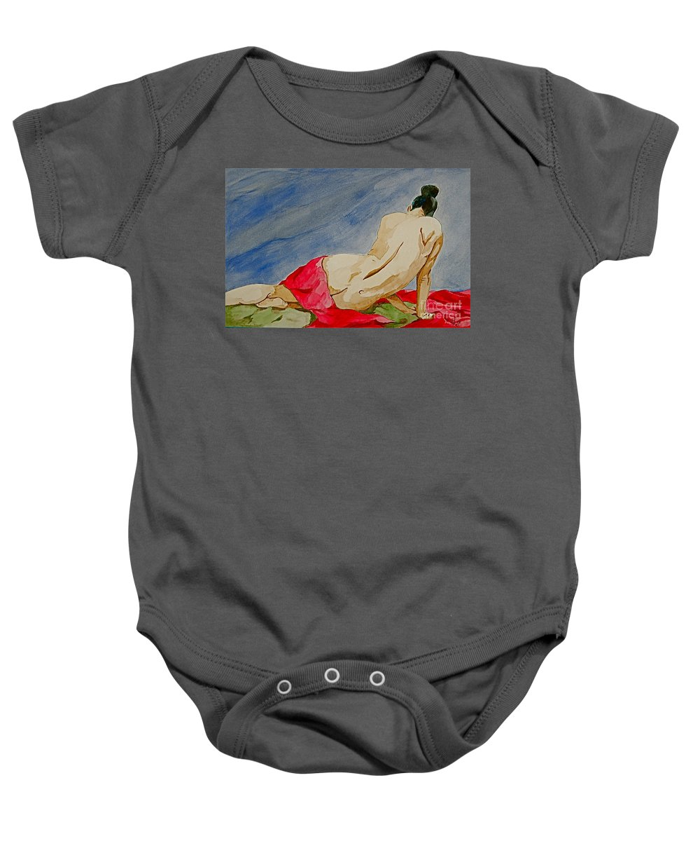 Nudes Red Cloth Baby Onesie featuring the painting Summer Morning 2 by Herschel Fall