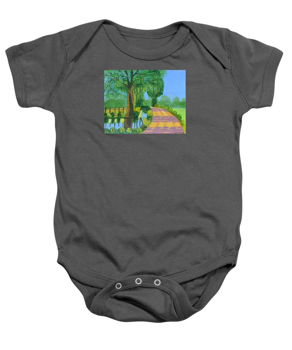Landscape Baby Onesie featuring the painting Summer Path by Magdalena Frohnsdorff