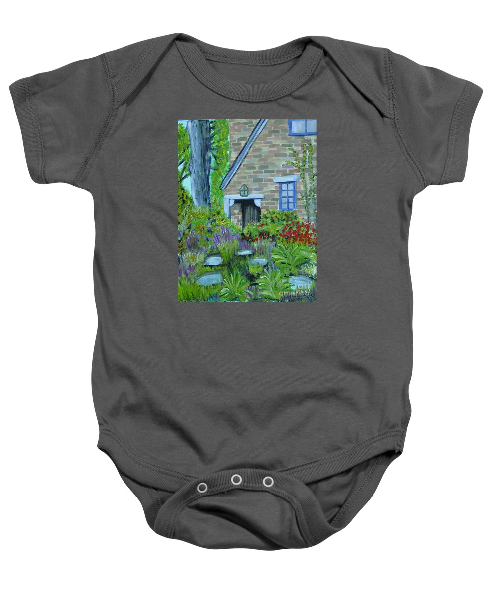 Cottage Baby Onesie featuring the painting Summer Retreat by Laurie Morgan