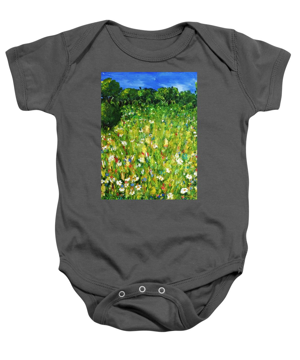 Landscape Baby Onesie featuring the painting The Glade by Evelina Popilian