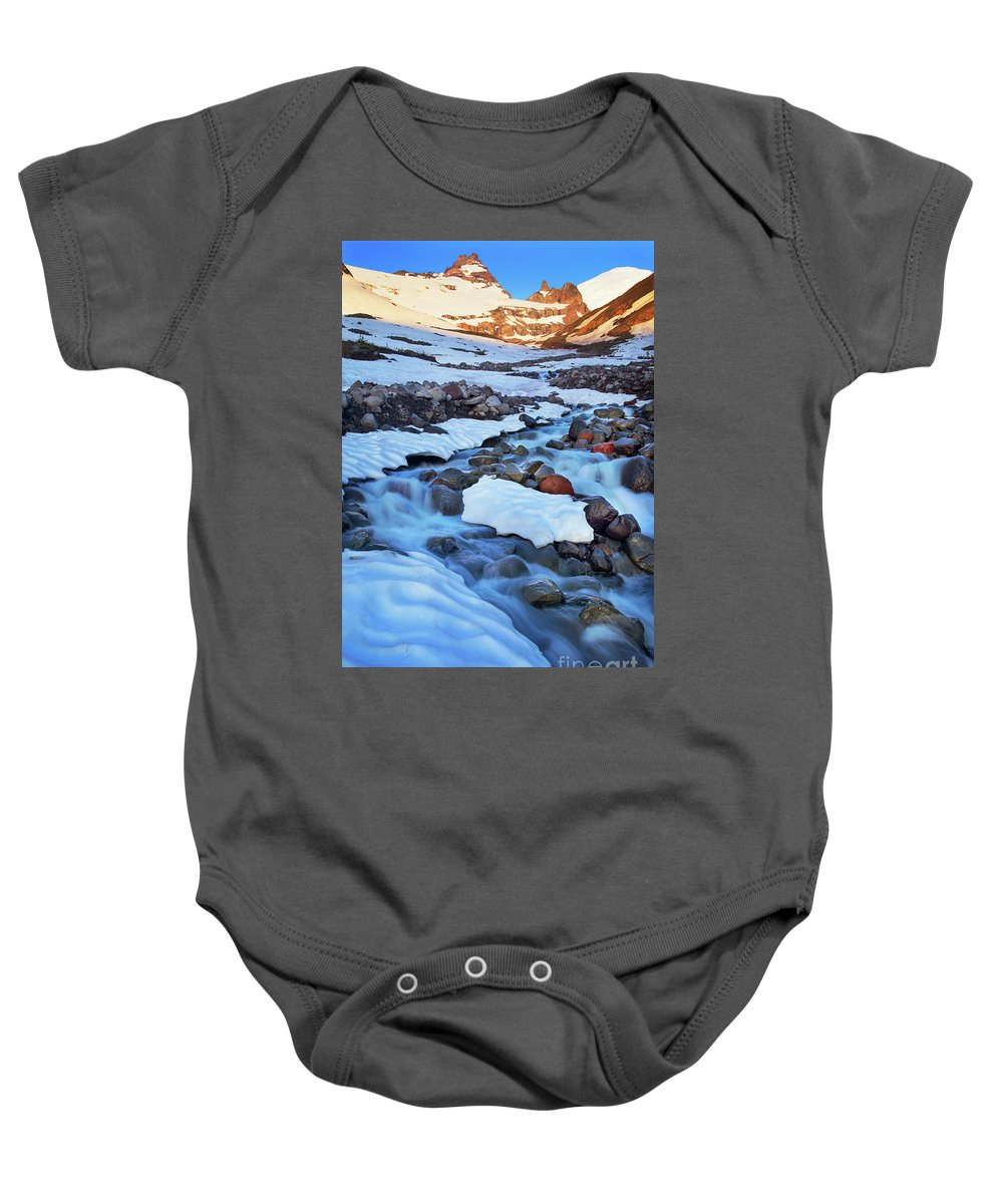 America Baby Onesie featuring the photograph Summerland Creek by Inge Johnsson