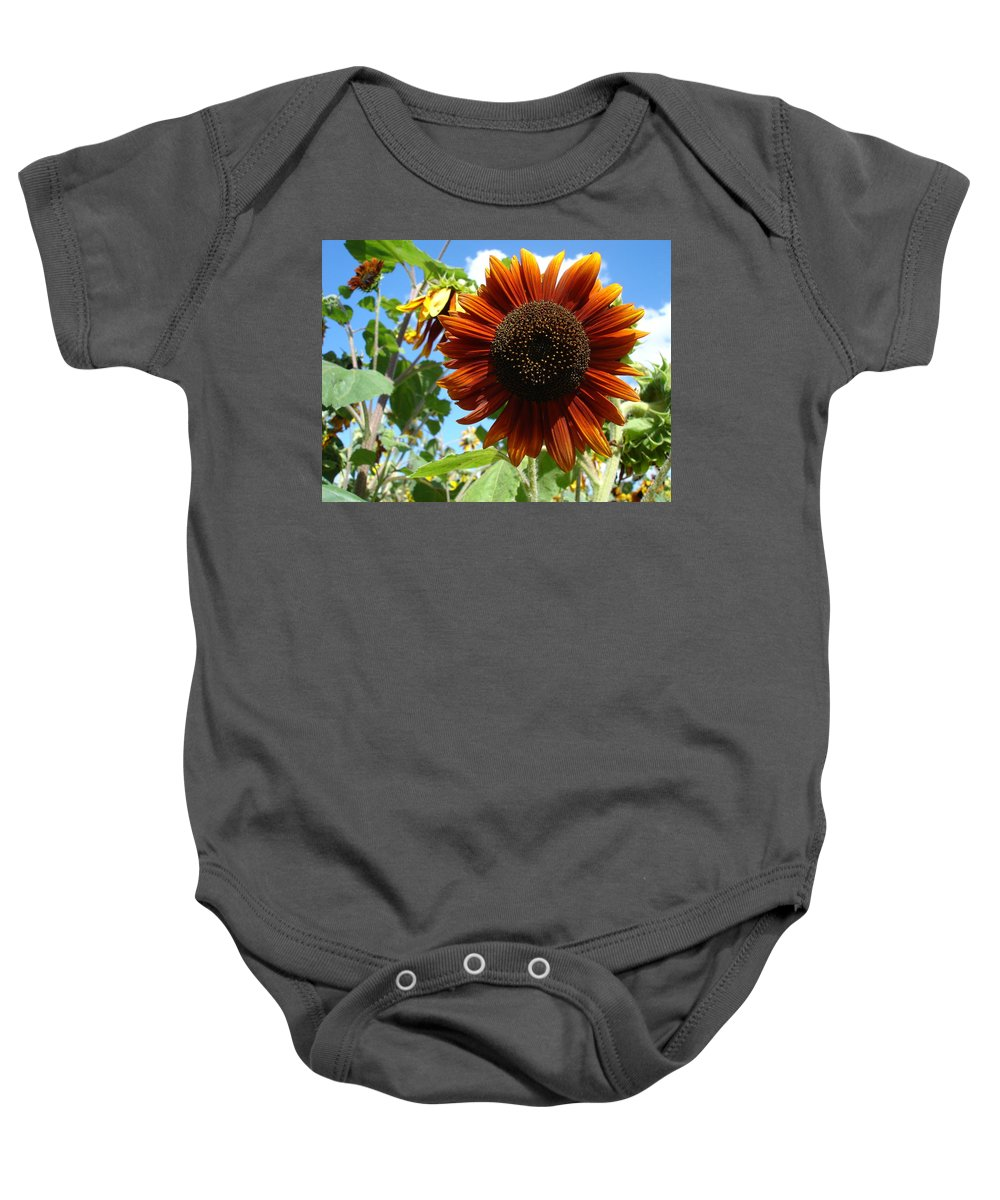 Sunflower Baby Onesie featuring the photograph Summers Here by Susan Baker