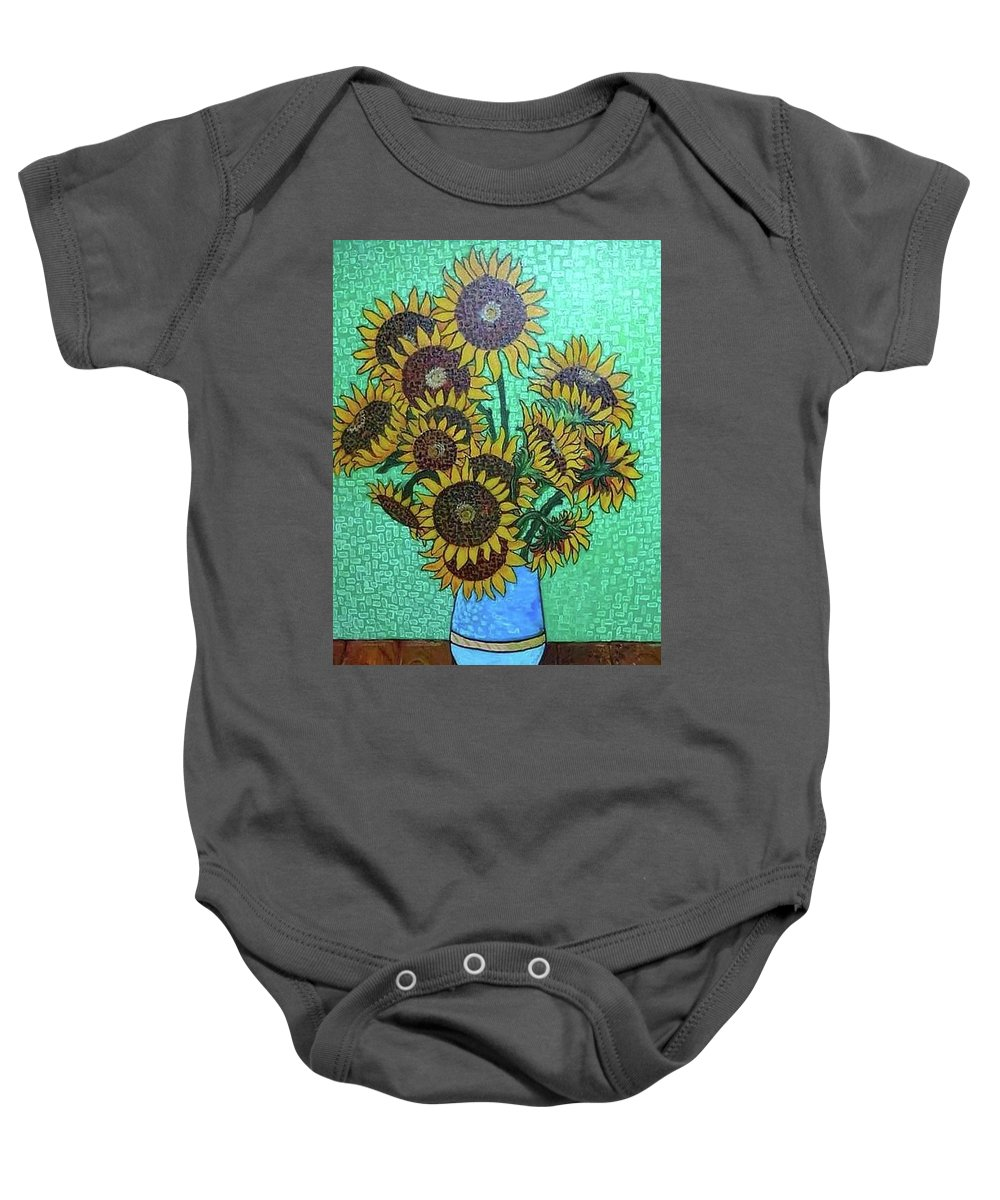 Flowers Colours Yellow Baby Onesie featuring the painting Sun Flowers by Teos' Art