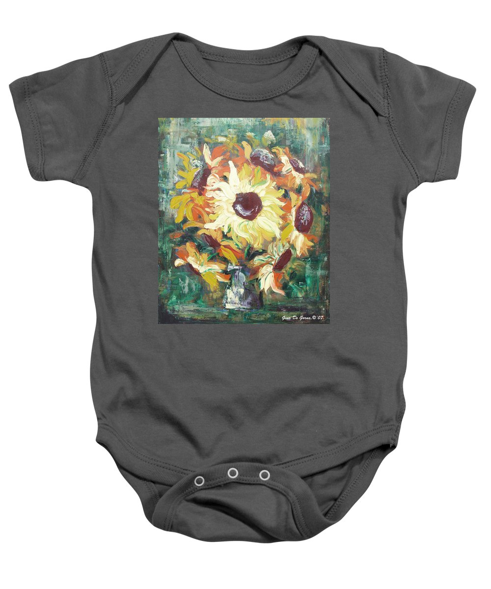 Sunflowers Baby Onesie featuring the painting Sun In A Vase by Gina De Gorna