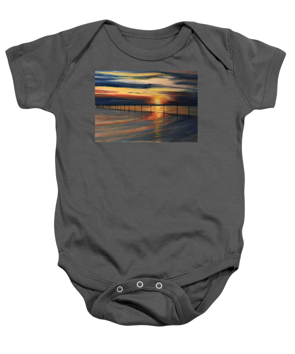 Landscpae Baby Onesie featuring the painting Sun Set At Seabridge by Heike Gramckow