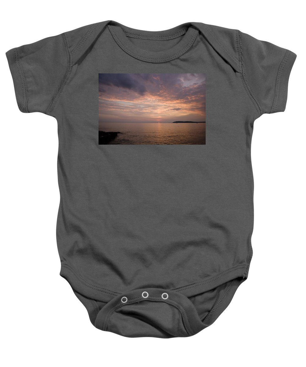 Sea Baby Onesie featuring the photograph Sundown Over The Adriatic Coastline by Ian Middleton