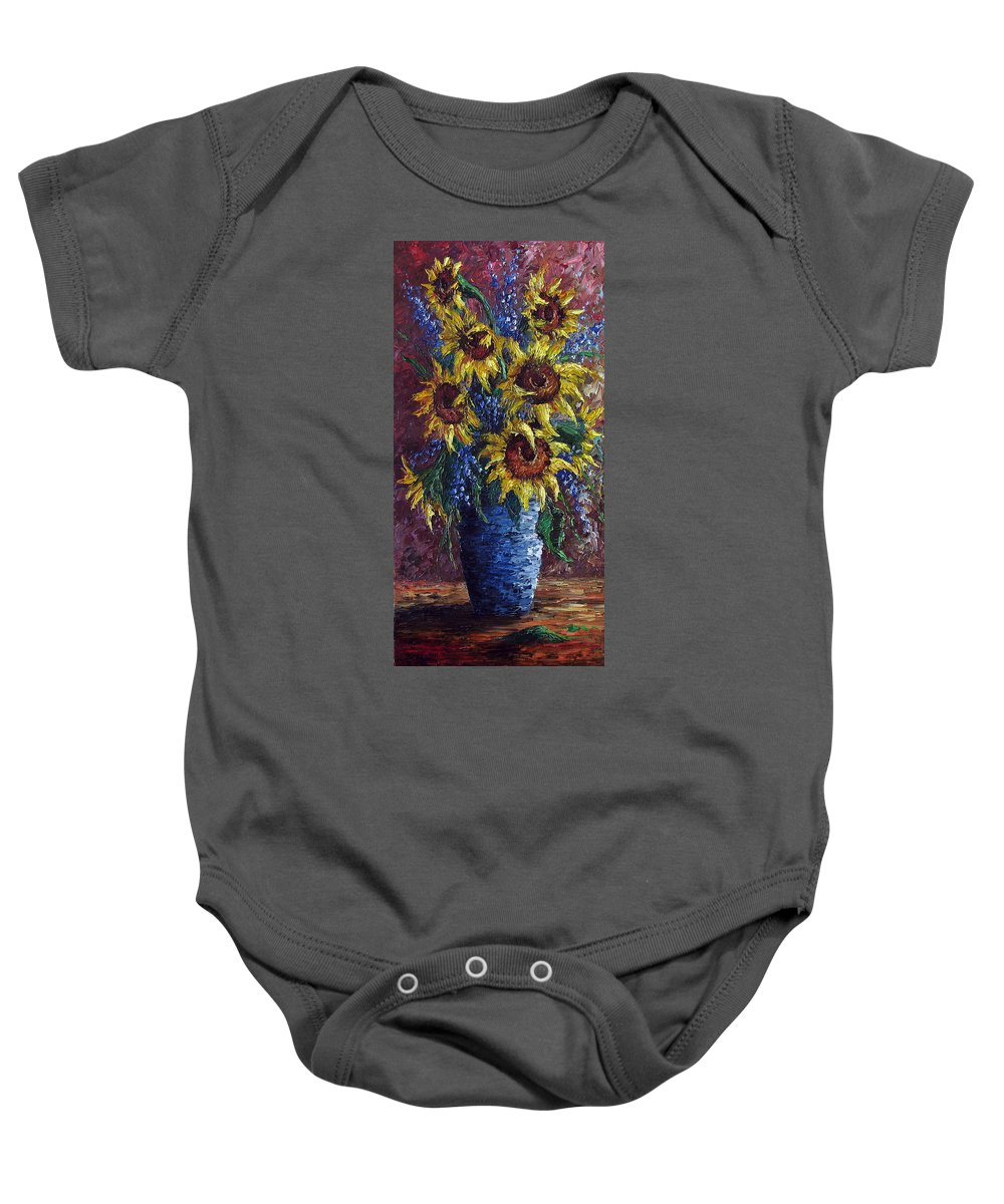 Flowers Baby Onesie featuring the painting Sunflower Bouquet by David G Paul