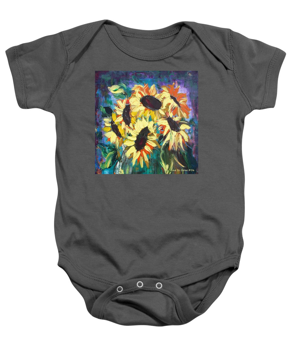 Sunflowers Baby Onesie featuring the painting Sunflowers 2 by Gina De Gorna