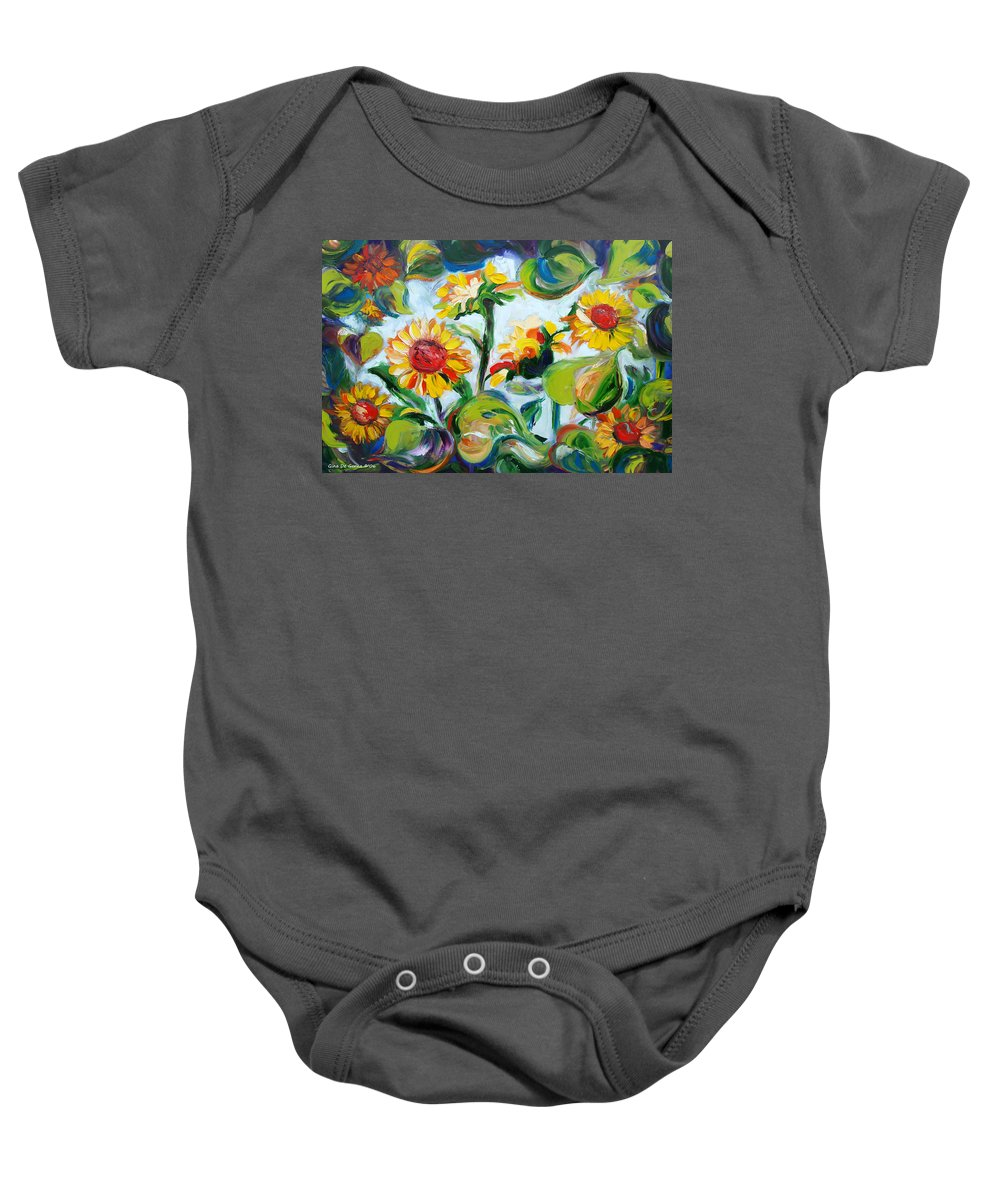 Sunflowers Baby Onesie featuring the painting Sunflowers 3 by Gina De Gorna