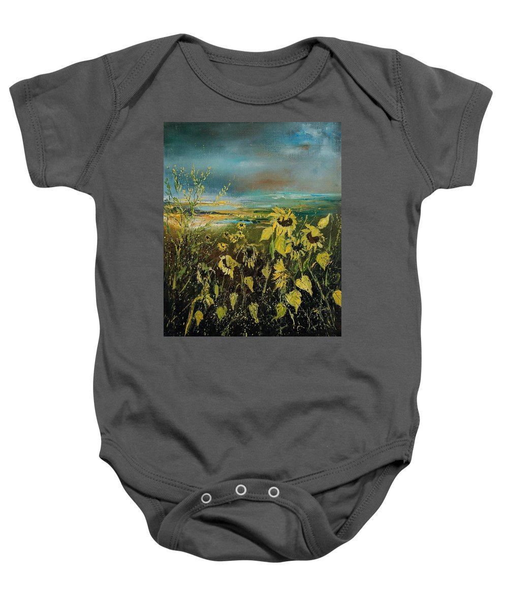 Flowers Baby Onesie featuring the painting Sunflowers 562315 by Pol Ledent