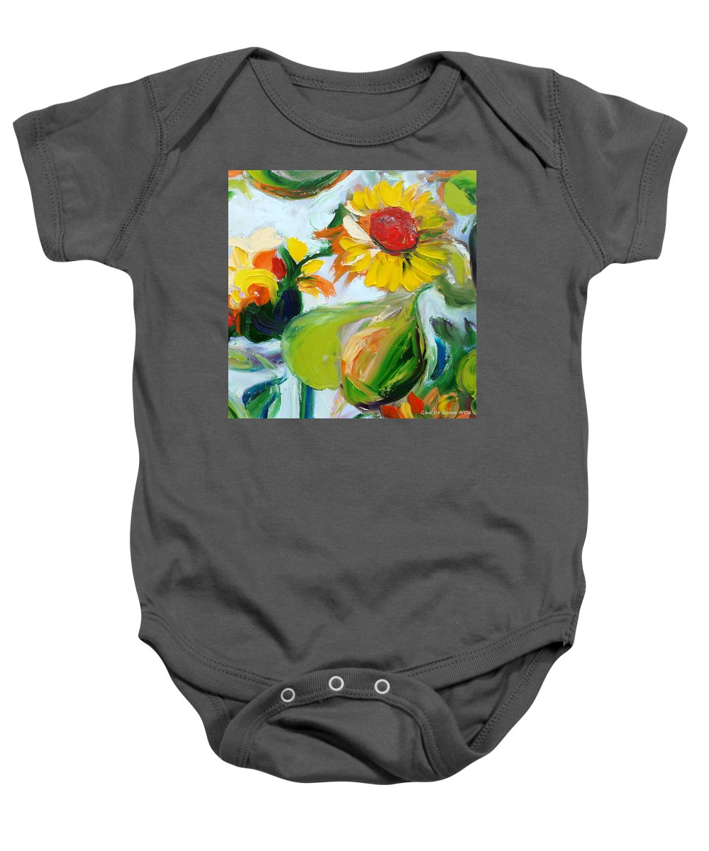 Flowers Baby Onesie featuring the painting Sunflowers 7 by Gina De Gorna