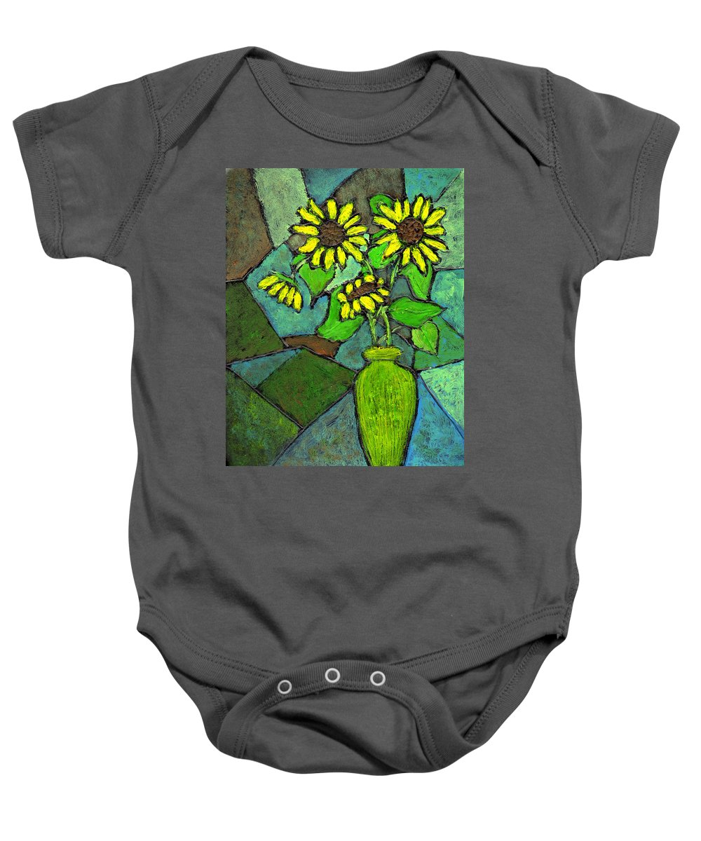 Sunflowers Baby Onesie featuring the painting Sunflowers In Vase Green by Wayne Potrafka