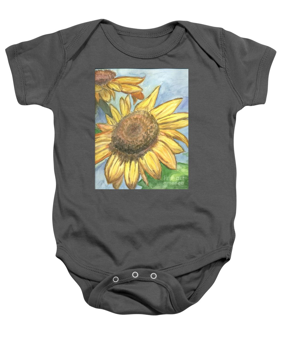 Daisy Baby Onesie featuring the painting Sunflowers by Jacqueline Athmann