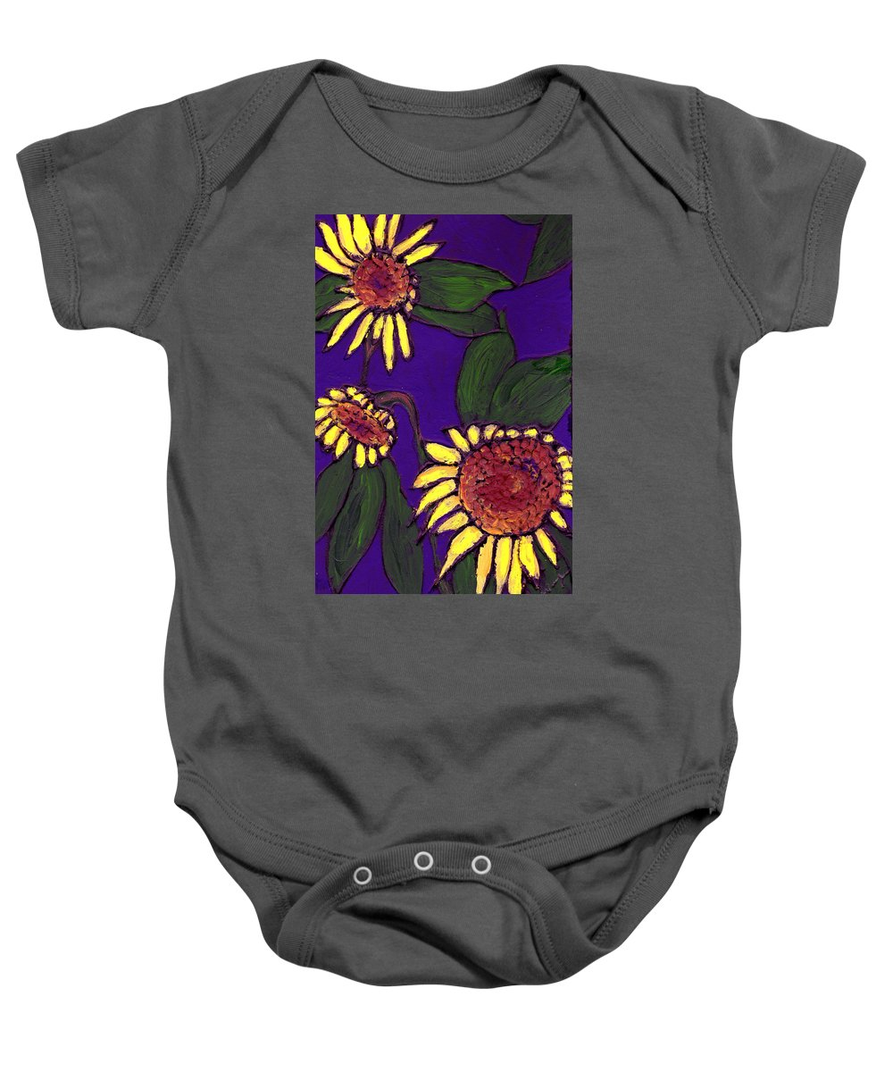 Sunflowers Baby Onesie featuring the painting Sunflowers On Purple by Wayne Potrafka