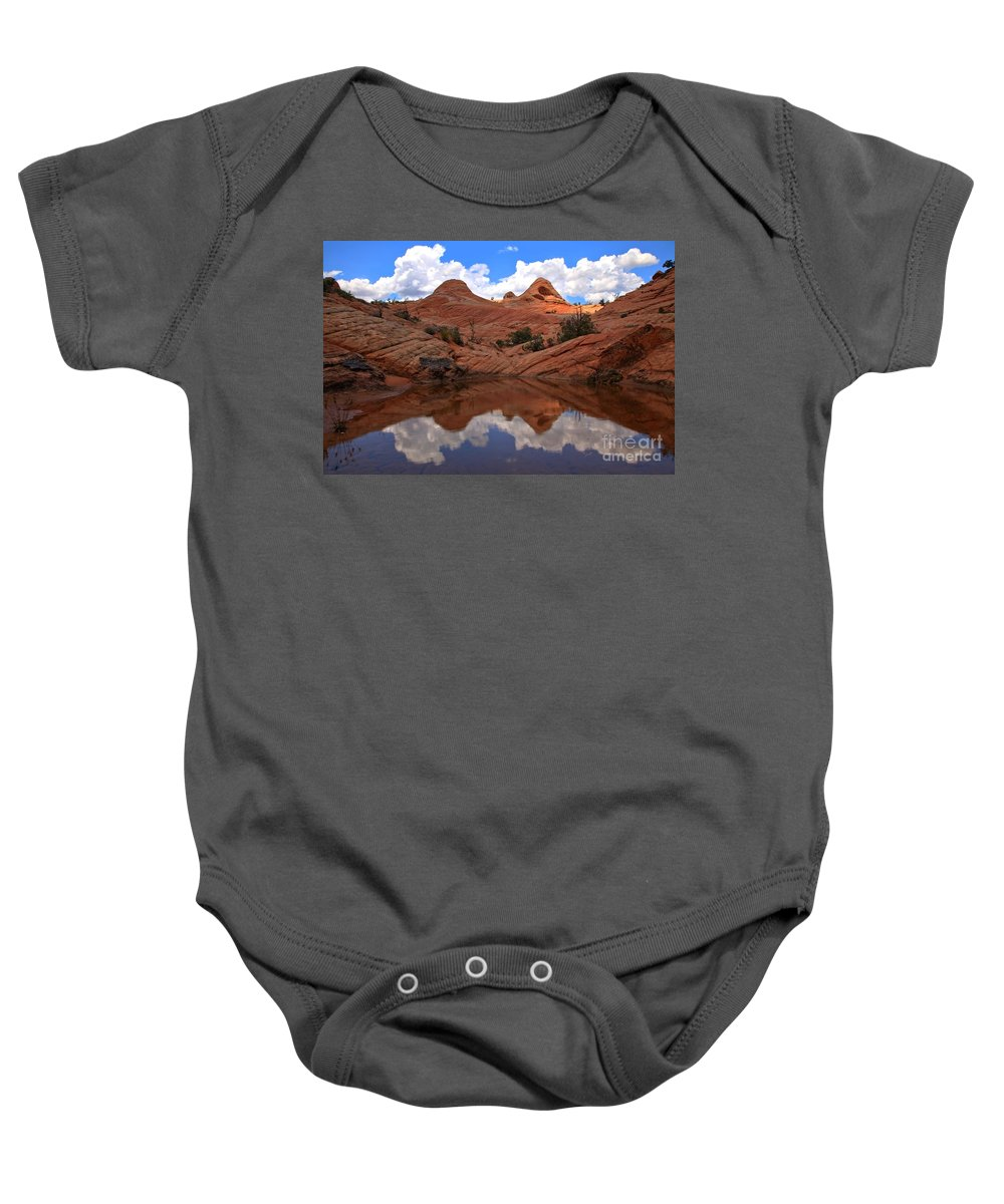 Yant Flat Reflections Baby Onesie featuring the photograph Sunlight Kiss by Adam Jewell
