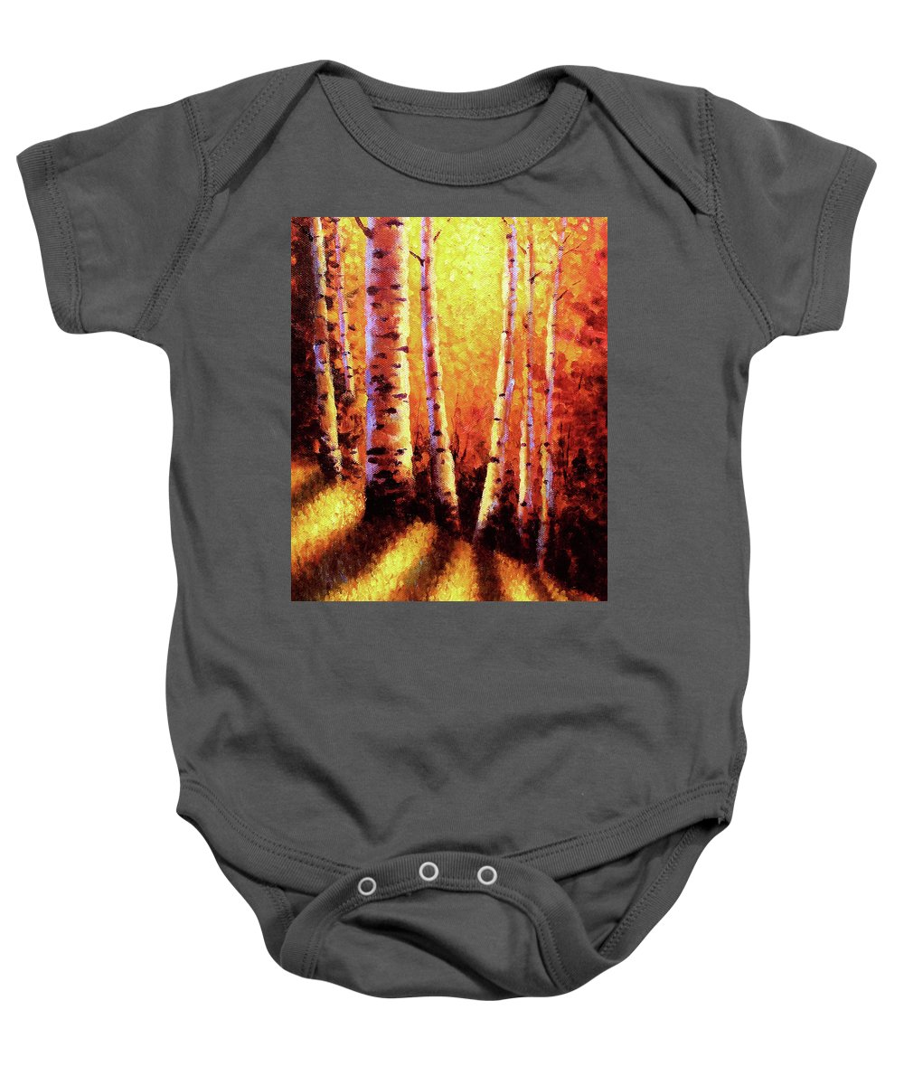 Sunlight Baby Onesie featuring the painting Sunlight Through The Aspens by David G Paul