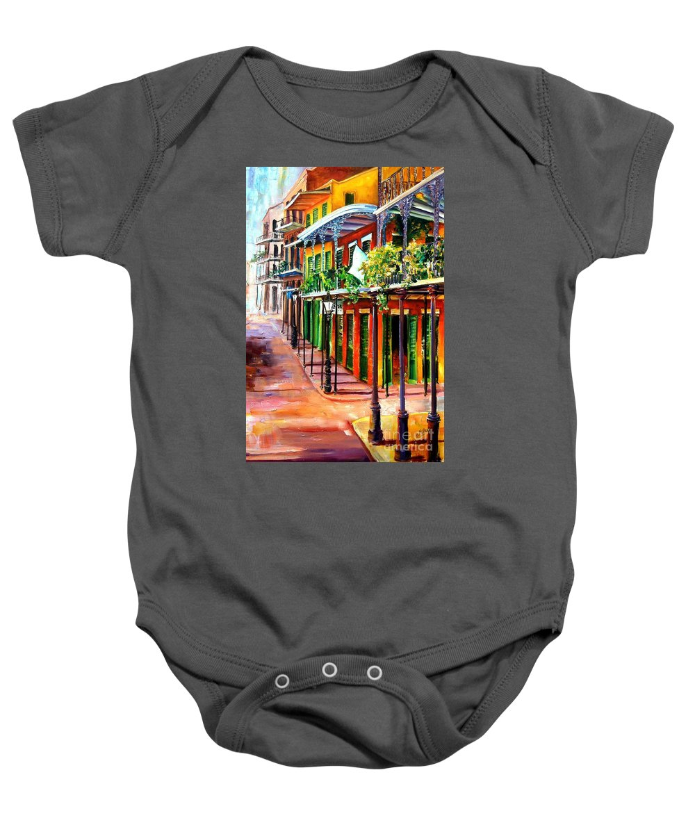 New Orleans Baby Onesie featuring the painting Sunlit New Orleans by Diane Millsap