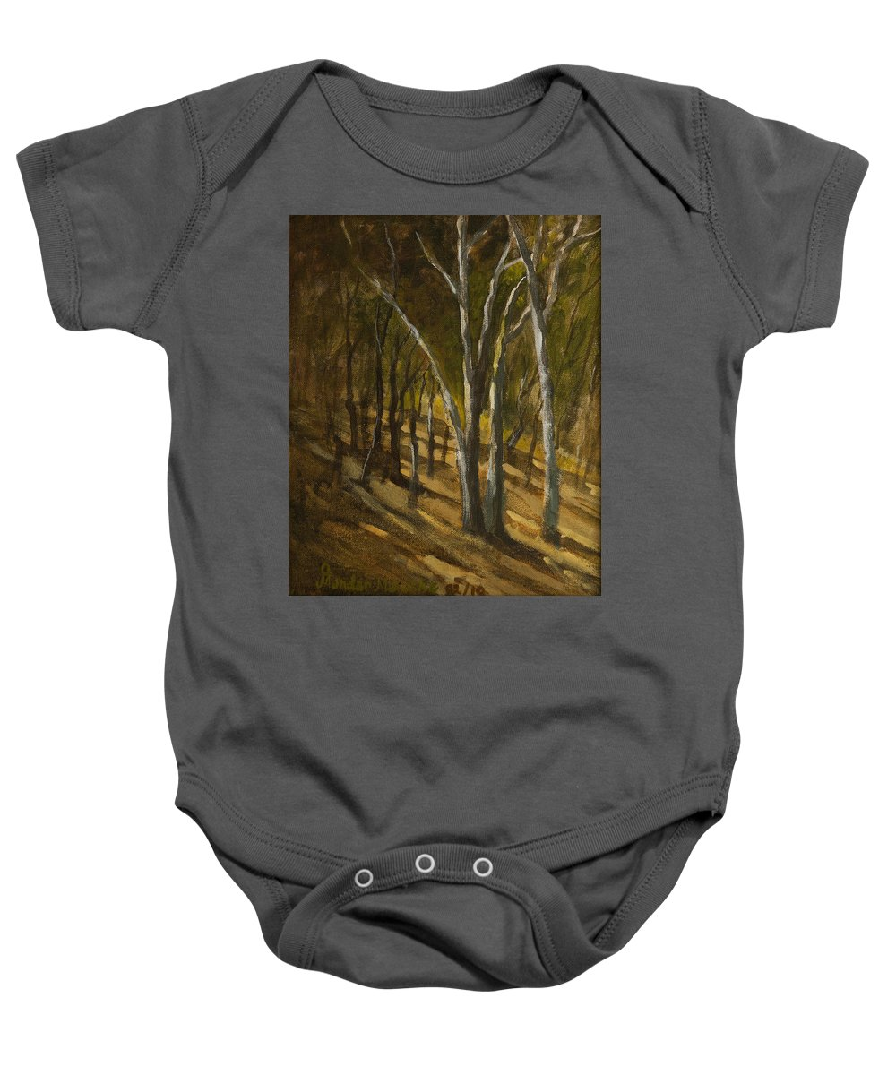 Landscape Baby Onesie featuring the painting Sunlit Slopes by Mandar Marathe