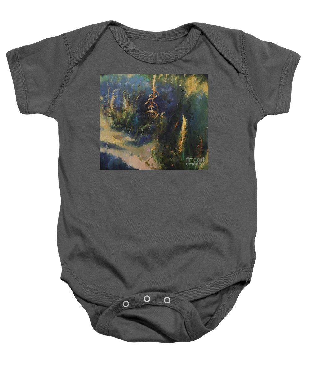 Lin Petershagen Baby Onesie featuring the painting Sunny Day by Lin Petershagen